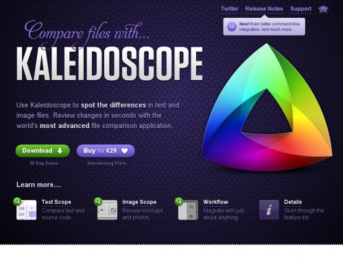 kaleidoscopeapp 500x387 35 Beautiful Mac App Web Designs