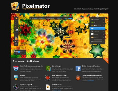 pixelmator 500x387 35 Beautiful Mac App Web Designs