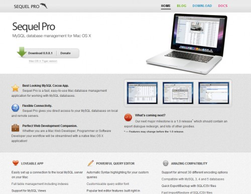 sequelpro 500x387 35 Beautiful Mac App Web Designs