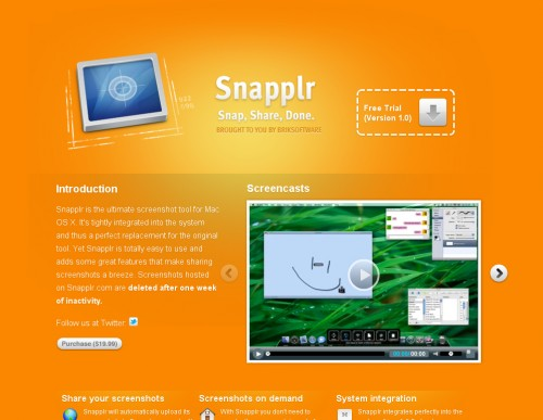 snapplr 500x387 35 Beautiful Mac App Web Designs