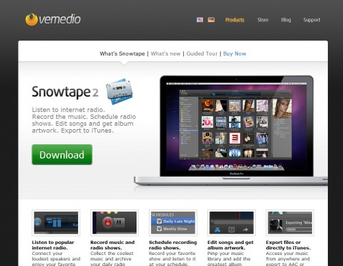 snowtape 500x387 35 Beautiful Mac App Web Designs