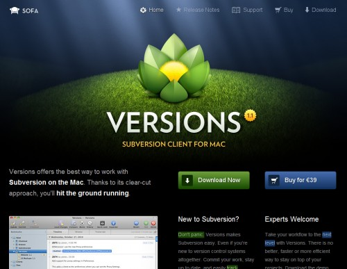 versionsapp 500x387 35 Beautiful Mac App Web Designs