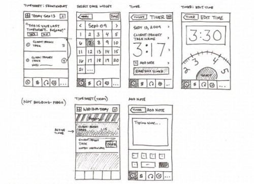 34 sketched ui wireframe1 500x362 25 Examples of Wireframes and Mockups Sketches