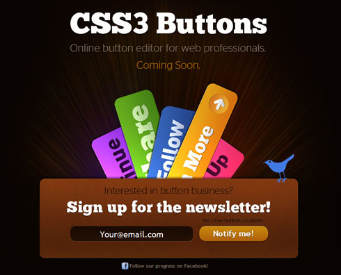 css3buttons 40 Creative Coming Soon Pages & Wordpress Themes