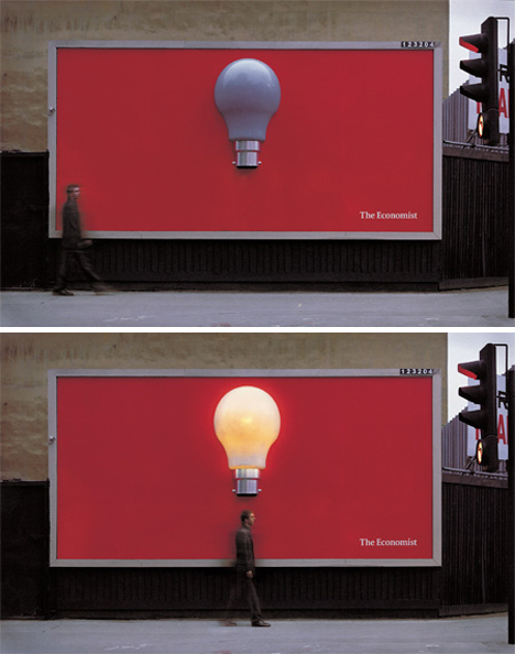 economist light bulb billboard1 35 Creative Examples of Billboard Designs