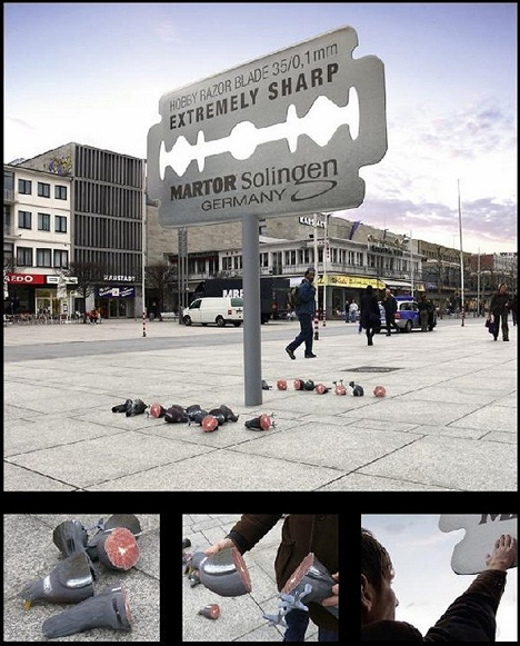 pigeons vs razors1 35 Creative Examples of Billboard Designs