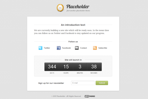 placeholder wordpress theme1 40 Creative Coming Soon Pages & Wordpress Themes