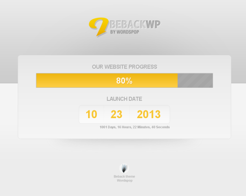 wordspop beback wordpress theme1 40 Creative Coming Soon Pages & Wordpress Themes