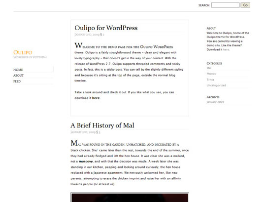 Oulipo 35 Free Clean and Useful Minimal Wordpress Themes