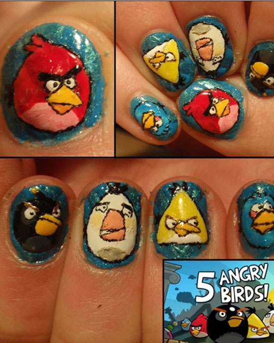 angry birds nails 30 Amazing Fan Inspired Angry Bird Artworks
