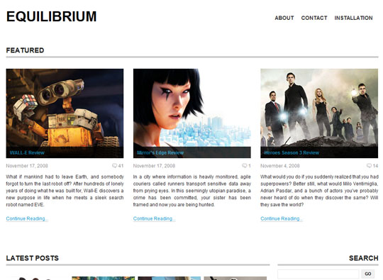 equilibrium 35 Free Clean and Useful Minimal Wordpress Themes