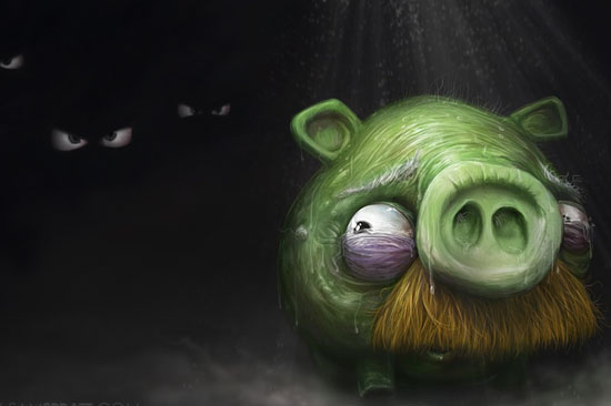 scared pig 30 Amazing Fan Inspired Angry Bird Artworks