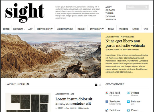 sight 35 Free Clean and Useful Minimal Wordpress Themes