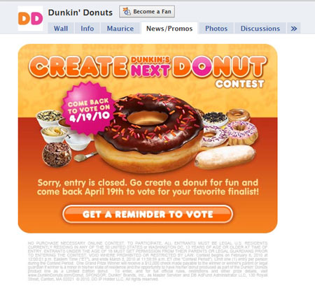 100411 dunkindonuts1 40 Facebook Fan Page Designs and Practices