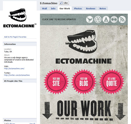 20110130 ectomachine1 40 Facebook Fan Page Designs and Practices