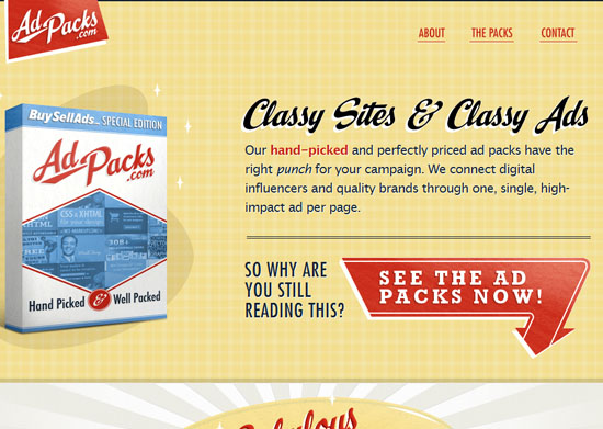 Ad Packs 40 Vintage and Retro Web Design Inspirations