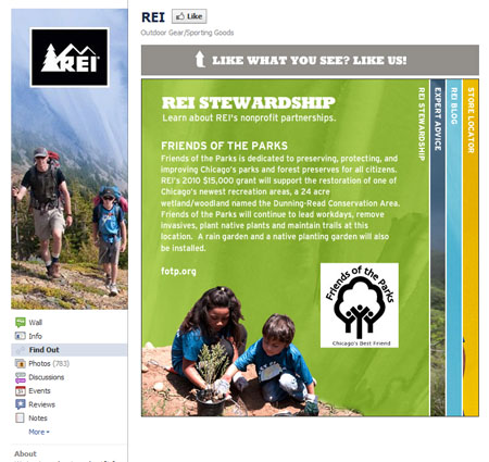 REI 40 Facebook Fan Page Designs and Practices