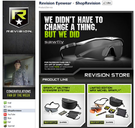 RevisionEyewear 40 Facebook Fan Page Designs and Practices