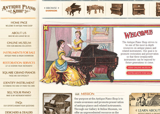 antiquepianoshop 40 Vintage and Retro Web Design Inspirations