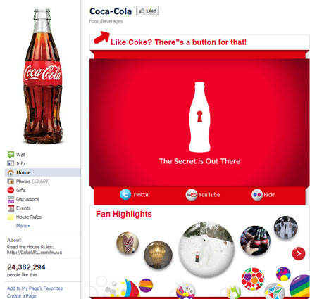 cocacola 40 Facebook Fan Page Designs and Practices