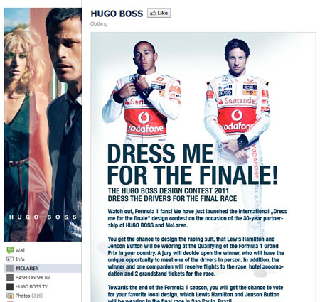 hugoboss 40 Facebook Fan Page Designs and Practices