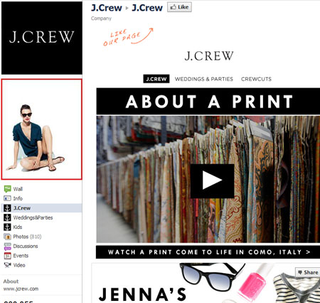 jcrew 40 Facebook Fan Page Designs and Practices