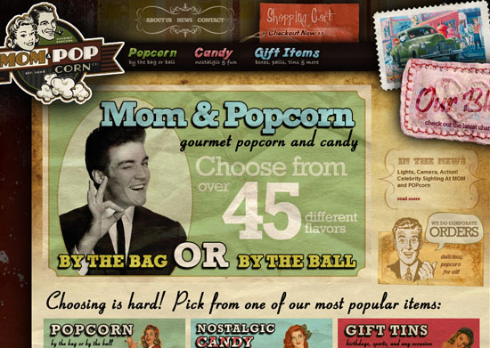 momandpopcorn 40 Vintage and Retro Web Design Inspirations