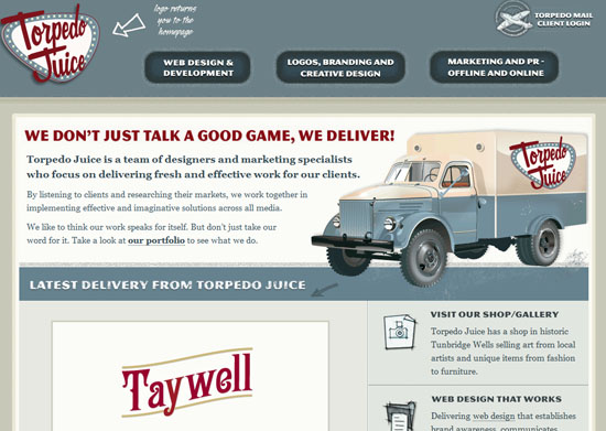 torpedojuice 40 Vintage and Retro Web Design Inspirations