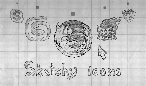 01 free hand drawn icon sets1 30 Creative Free Hand Drawn Icon Sets