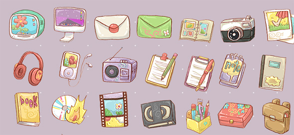 14 free hand drawn icon sets1 30 Creative Free Hand Drawn Icon Sets