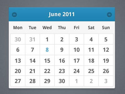 A minimalist calendar widget 60 User Interface Calendar Inspirations and Downloads