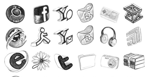Black Bic Doodling 30 Creative Free Hand Drawn Icon Sets