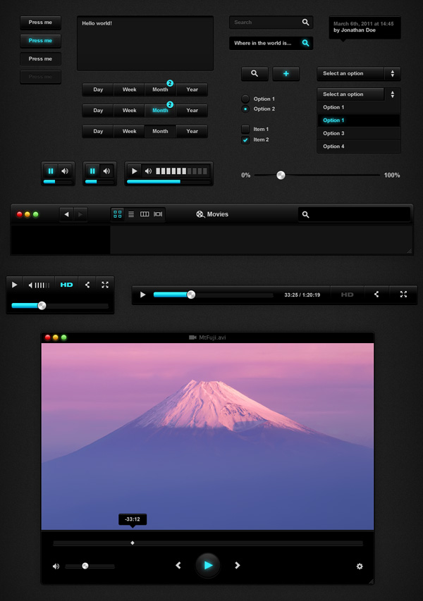 Blck ui1 50 Stunning Pixel Perfect PSD Freebies