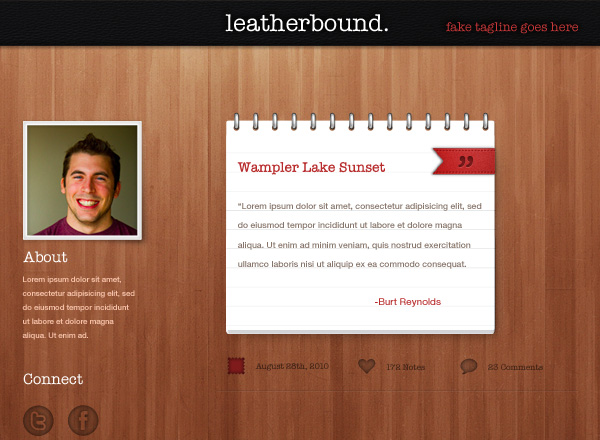 Leatherbound Tumblr Theme 50 Stunning Pixel Perfect PSD Freebies
