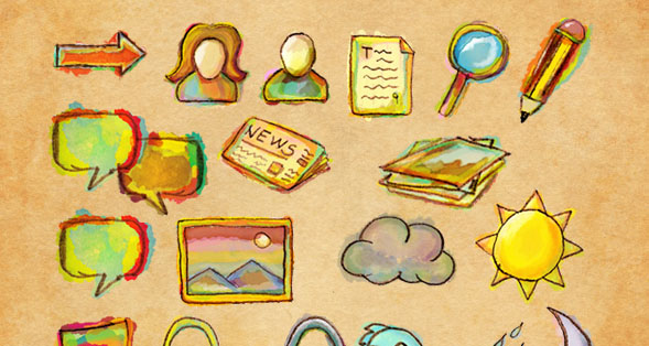 Watercolor Free Icon Pack 30 Creative Free Hand Drawn Icon Sets