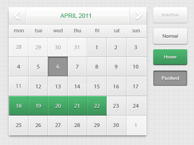 shot 13007600891 60 User Interface Calendar Inspirations and Downloads