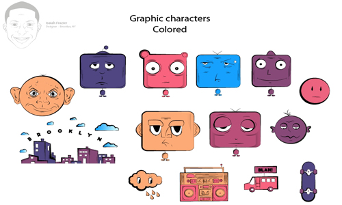 Graphic characters colored resize Step 5 How to Create a T shirt Illustration for Threadless