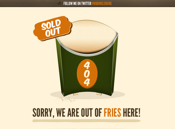 social fries 40 Clever Yet Creative 404 Error Designs
