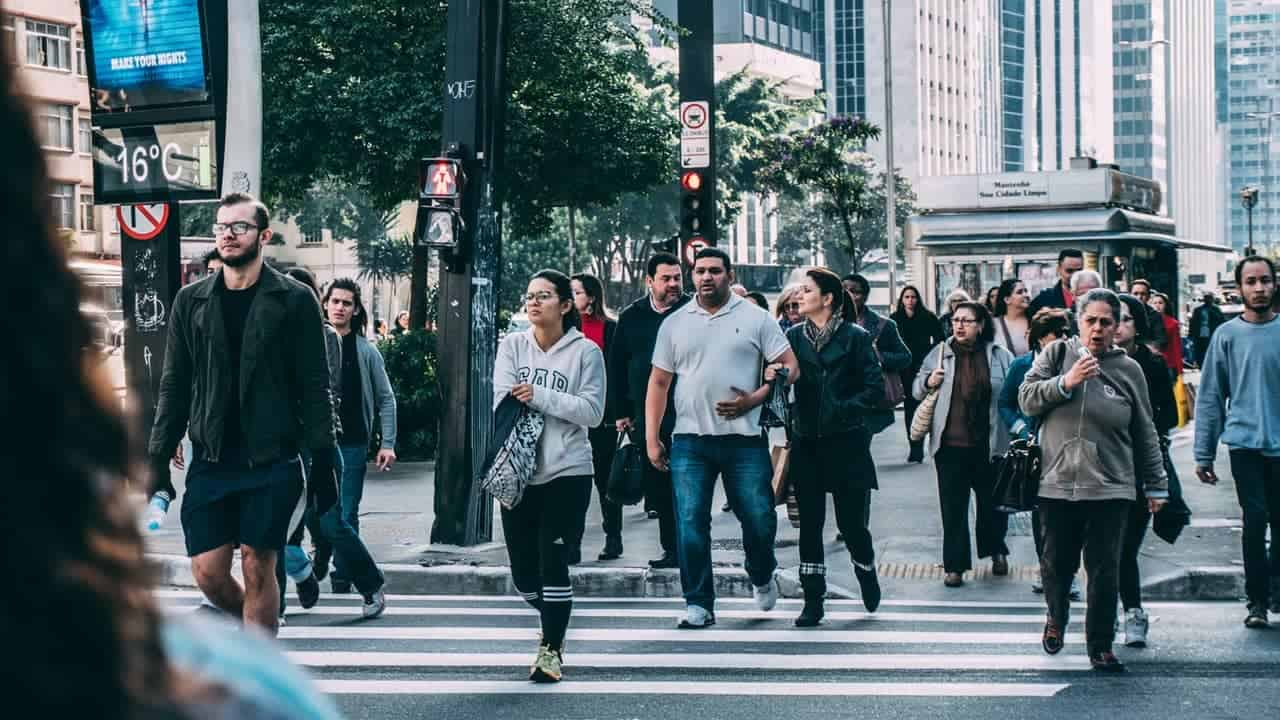 people walking in a city