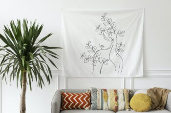 Tapestry wall in a bohemian living room
