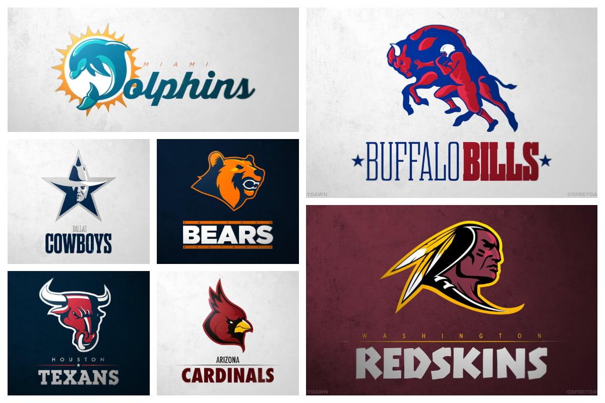 Nfl Redesigned 32 Fresh Football Team Logos Inspirationfeed