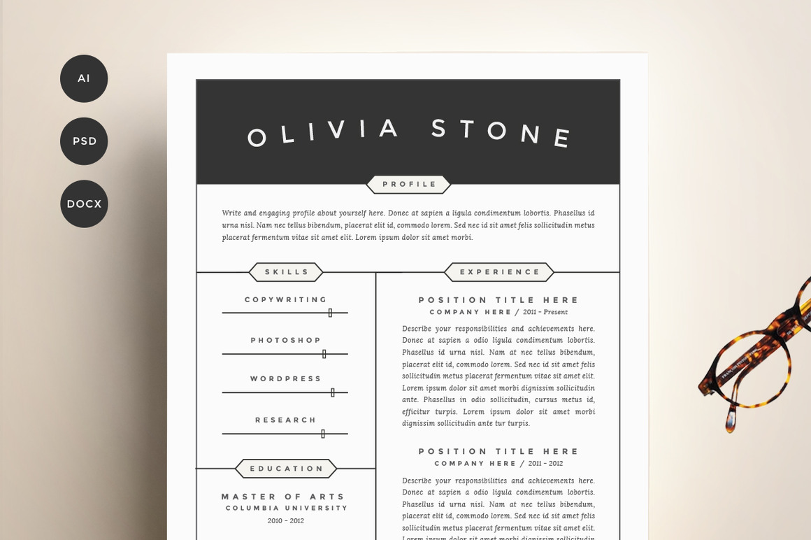 resume template 4 pack cv template2