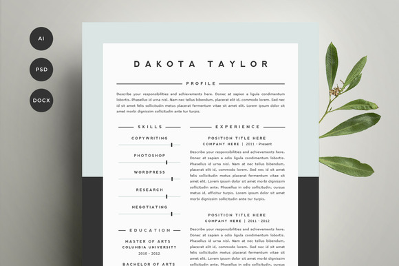 resume template 4 pack cv template5