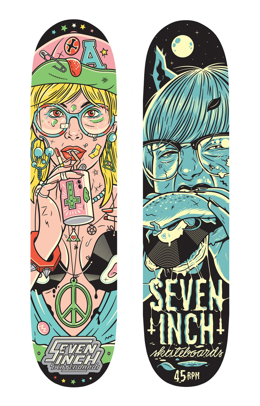 """Girl with glasses"" skateboard decks made by Rami Niemi for Seven Inch Skateboards"