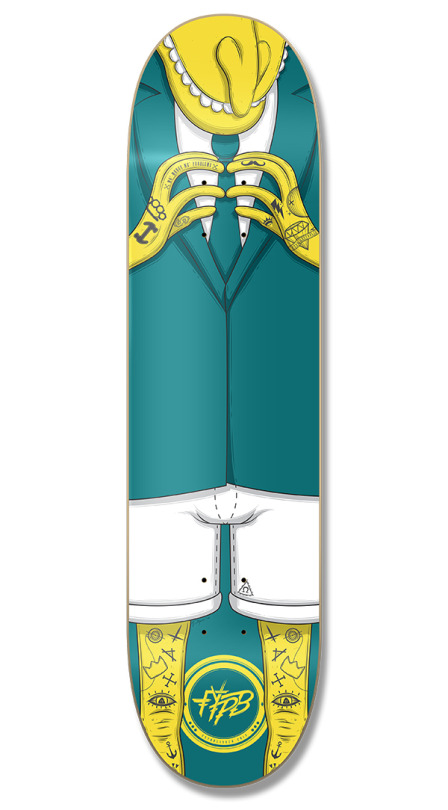 Barnes tattooed skateboard deck made by Digital Oatmeal for FYPB Skate Co.