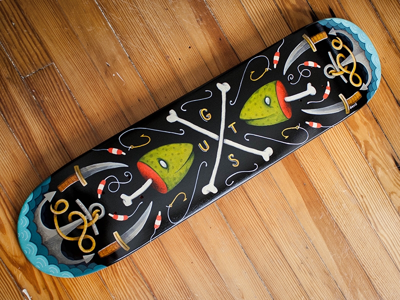 GUTS Skateboard Deck Painting by Robby Davis