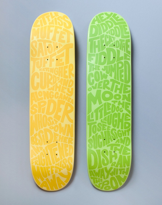 Nursery Rhyme skateboard deck designed by Katie Tully