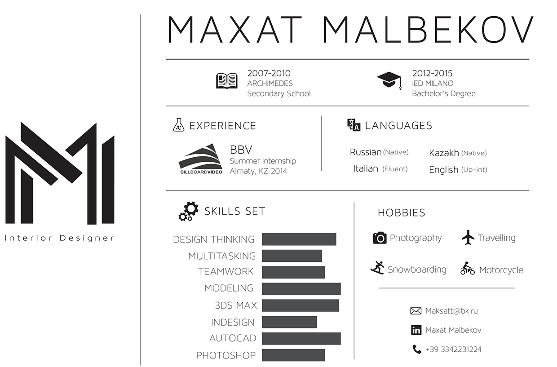 Resume by Maxat Malbekov