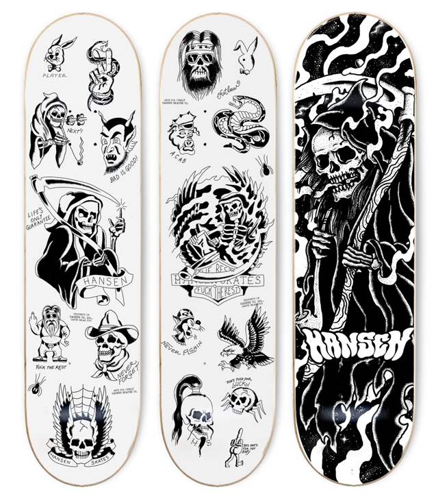 Skateboard decks by iamfalu for hansenclothing