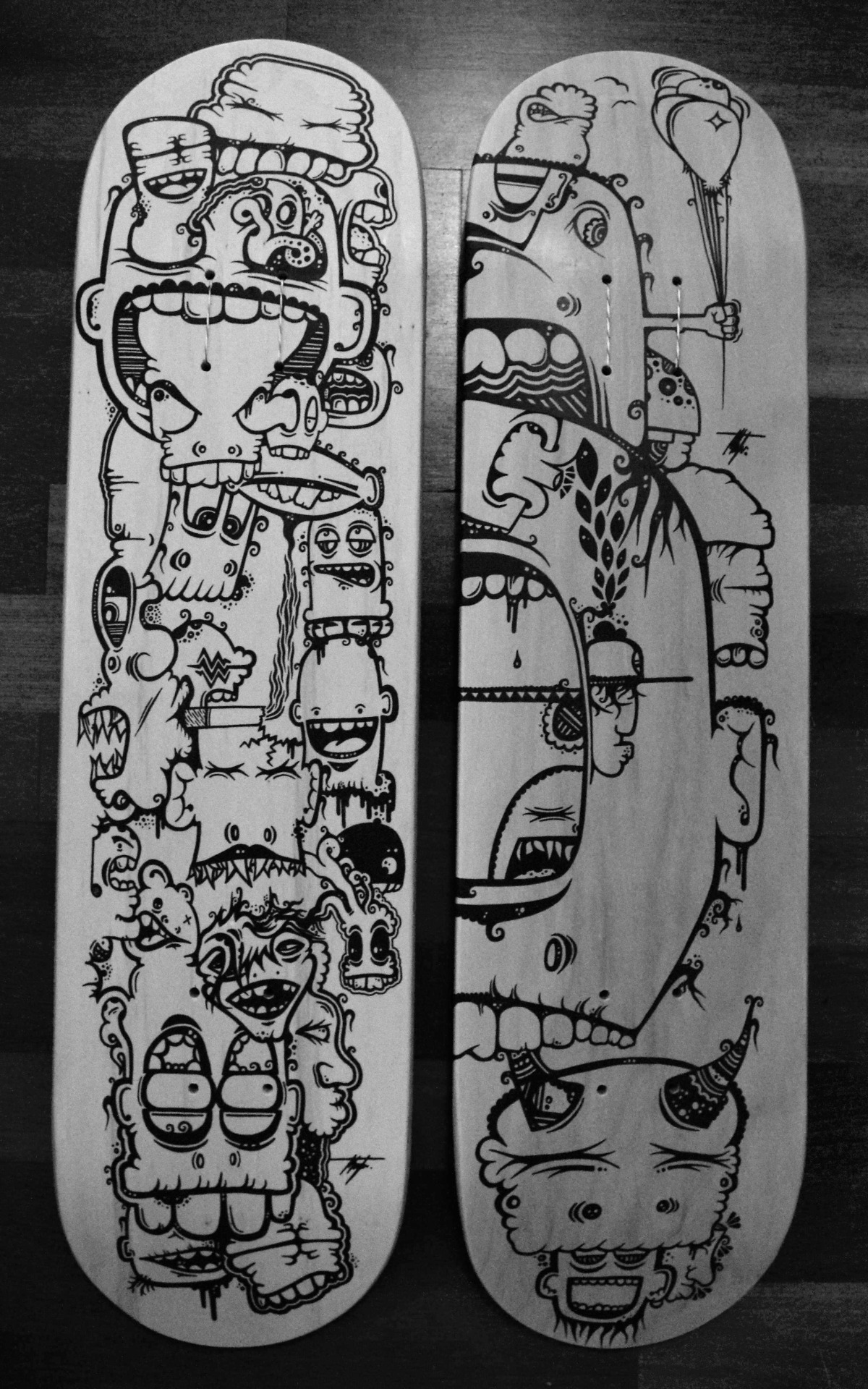 Skateboard decks designed by matthewtaylorillustration